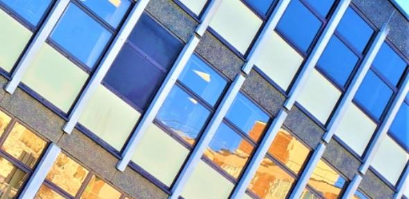 Photo of windows of S Block on Cambridge Biomedical Campus