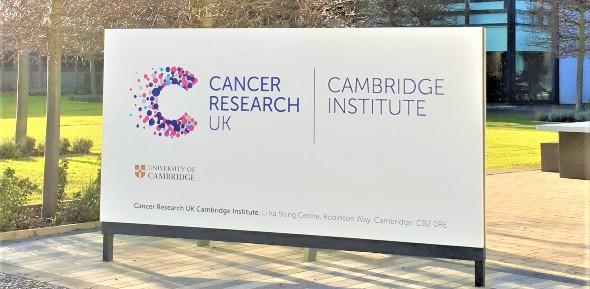 Photo of CRUK Cambridge Institute sign